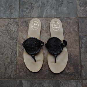 Jack Rogers Georgica Black Patent Sandal size 10